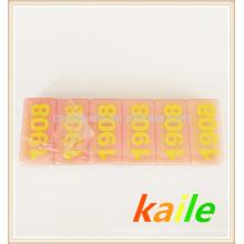 Doppel sechs gelbe Farbe rosa Domino