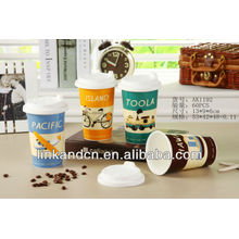 KC-00979 ,cute and lovely design, ceramic coffee mug with silicone lid