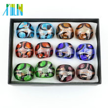 Novo designSands Handmade Dicróico Vidro Ring12pcs / box, MC1010