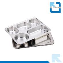 304 de acero inoxidable 5 compartimiento de alimentos Contenedores Lunchbox con tapa