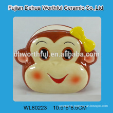 2016 hot sale factory directly ceramic napkin holder with monkey shape
