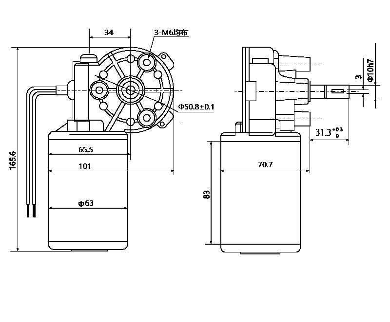 Drawing of ZD63R-3680-40 DC Gear Motor - MAINTEX