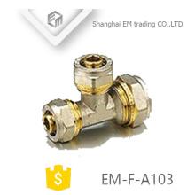 Encaixe de tubulação de compressão EM-F-A103 Brass Equal tee