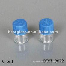 0.5ml transparent vial with blue plastic screw cap which used for laboratory