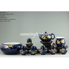 Golden Dragon Teaware Set, 6 paires de Drinking & Sniffing Cups + Théière + Pitcher + Gongfu Tea Bowl (dans un paquet cadeau)