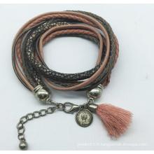 Cuir véritable 5 rouleaux de perles de verre tissu Bracelet (XBL13558)