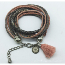 Real Leather 5 Rolls Glass Beads Tissue Bracelet (XBL13558)