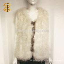 Whosale Quality Ladies genuino Turky pluma de piel corta chaleco