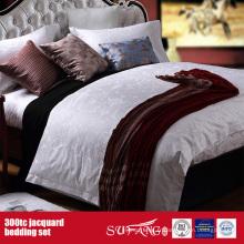 300TC Jacquard en gros ensemble de literie Hotel New Bed Sheet Design