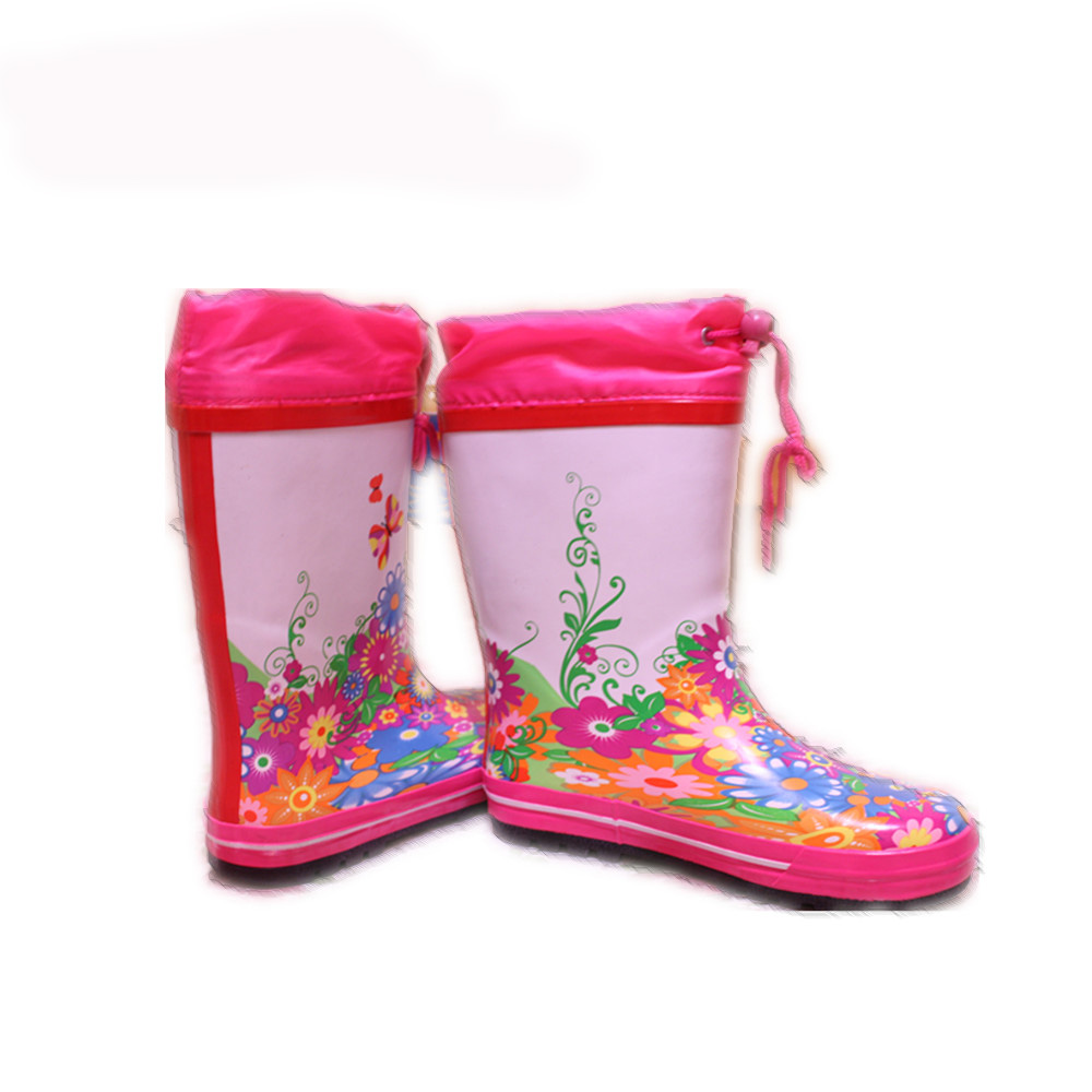 Children Rain Boots with Waterproof Drawstring Rope