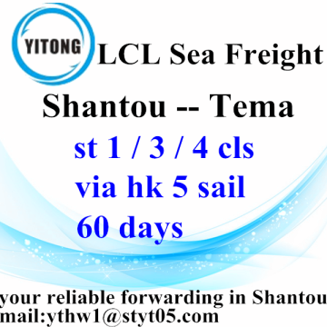 Shantou LCL Expédition International Cargo to Tema