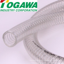 PVC spiral steel wire hose for water, oil, powder. Made in Japan by Togawa Industry (high temperature flexible hose)