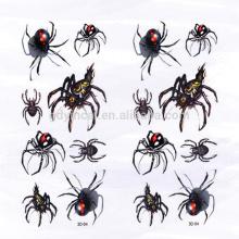 Autocollant de tatouage 3D adapté aux besoins du client par insertion d'araignée-forme pour la décoration dans Halloween