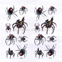 Spider-shape Insert Customized 3D tattoo sticker for Decoration in Halloween