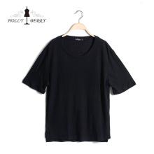 Nova moda plus size elegante preto casual manga curta camisa das mulheres