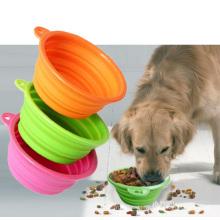 Tigela dobrável do alimento de cão do animal de estimação do silicone