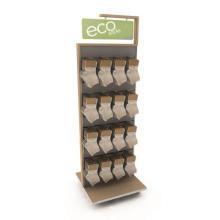 Practical Movable Wood Slatwall Floor Standing Metal Hooks Double Sided Hanging Sock Rack Display