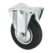 Middle Duty Series Caster - Rigid - Black Industrial Rubber (rolamento de rolos)