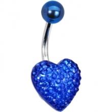 10mm diamante azul coração pircing