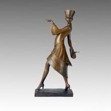 Tänzer Bronze Skulptur Mode Madam Deco Messing Statue TPE-318