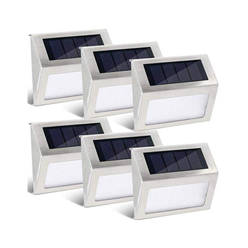 Eco-friendly multifunctional Solar powered stainless steel stair step fence wall mount light with super bright led