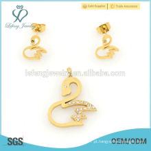 Mais vendidos bonito cisne ouro amarelo conjuntos de jóias por atacado 2015