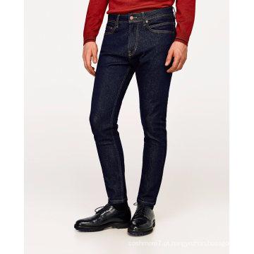 Homens Algodão Estiramento Básico Moda Básica Slim Fit Lavagem De Pedra Azul Denim Jean