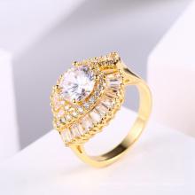 Anel de jóias mulheres novo design 18k anel de dedo de ouro zircão jóias