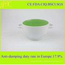 Китай производитель Поставка керамической чаши с двойными ручками