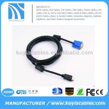 HDMI GOLD MALE TO VGA HD-15 MALE Cable 6FT 1.8M 1080P Blue HDMI-VGA M-M