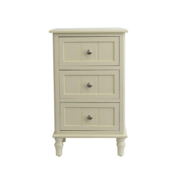 Decor Therapy White Finish Three Drawer End Table Buttermilk