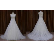 Strapless Beaded Applique Organza Wedding Dress