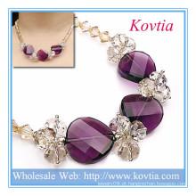 Melhor cristal de jóias e colar de contas ametista em 925 cordão de prata esterlina