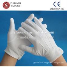 100% Baumwoll-Inspektionshandschuhe mit drei Linien auf der Rückseite und Knopf an der Manschette