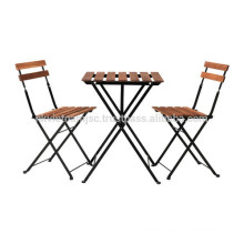 Outdoor Folding Colorful Table Acacia Wood Metal Frame