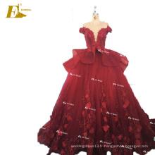 ED Bridal China Custom Made Off Shoulder Appliques robe de bal robe de mariée en organza rouge