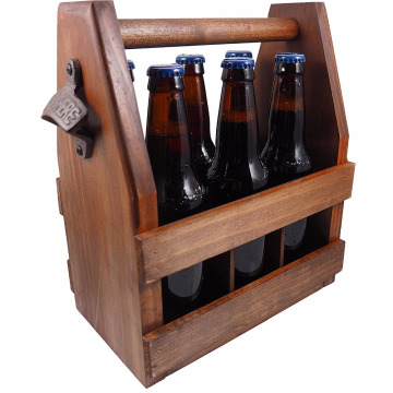 Factory Wooden Beer Caddy Carrier with Bottle Opener