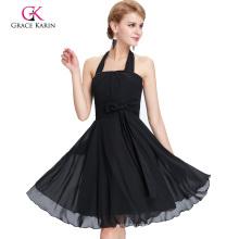 Grace Karin Halter Knee Length Chiffon Black Prom Dress CL2290-1