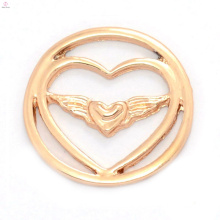 Fashion new rose gold alloy double heart window plates for floating charms necklace locket pendant jewelry