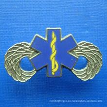 Placa de chapado en oro con color azul de impresión (GZHY-BADGE-019)