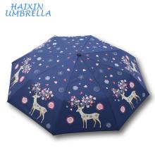 Wholesale Strong Windproof Sunshade Fashion Rain Kid Umbrella Deer Pattern Cartoon Character Designer Umbrella Custom Printed
