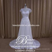 Frauen-helles Elfenbein-Hochzeits-Brautkleid-Kleid-reales Beispiel-Weinlese-Hochzeits-Kleid, das durch Soem geliefert wird
