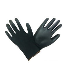 Black Polyester PU Palm Coated Top Fit Protective Gloves with Ce Certificate