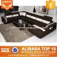 SUMENG U shape contrast color fabric sofa set