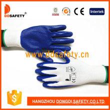 Ddsafety 13 Gauge White Nylon with Blue Nitrile Coating Gloves Smooth Finished