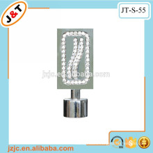retractable flat metal curtain rod with diamond curtain finial