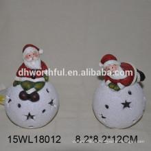 Ornamento de Navidad de cerámica santa con LED