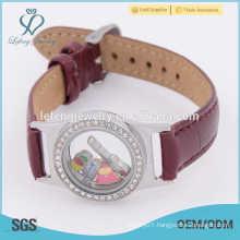 Leather wrap bracelet locket, cheap custom cloth bracelets, floating watch locket