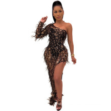 C3903  lady see through dress womens clothing 2020 new arrivals women sexy beaded dresses