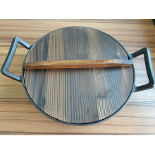 China Cast Iron Big Size Wok with Wooden Lid